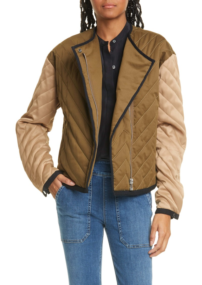 FRAME Quilted Colorblock Cotton Jacket