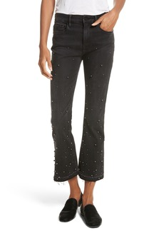 FRAME Raw Edge High Rise Embellished Crop Jeans (Mott Street)