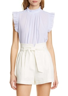 FRAME Raw Edge Ruffle Trim Top