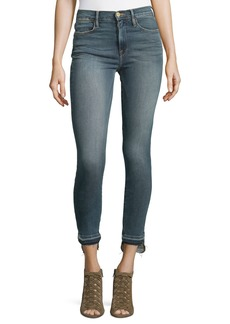 FRAME Released Stagger-Hem Skinny Jeans