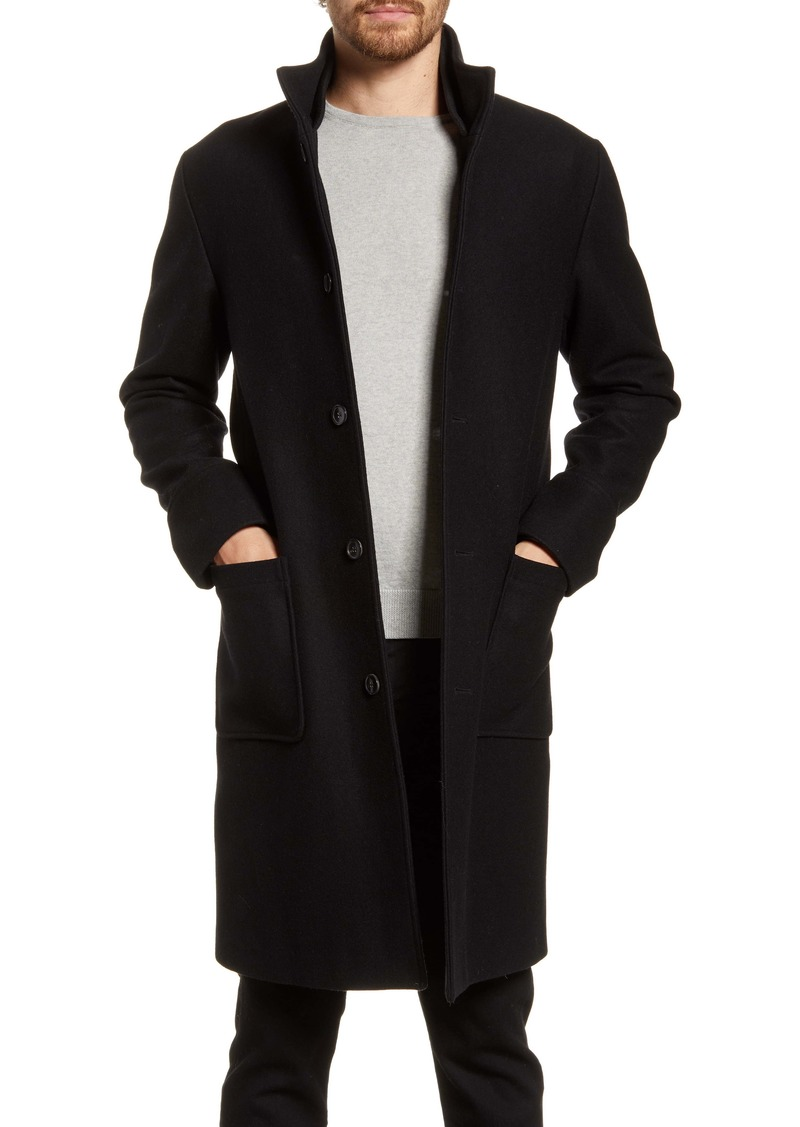 FRAME Ribbed Collar Wool Blend Topcoat