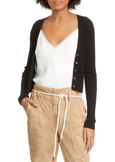 FRAME Ribbed Crop Silk & Cotton Cardigan
