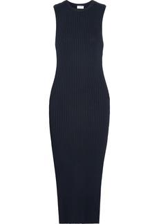 FRAME Ribbed-knit Stretch-cotton Midi Dress