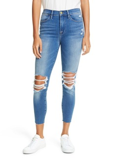 FRAME Ripped High Waist Raw Hem Crop Skinny Jeans (Gaby)