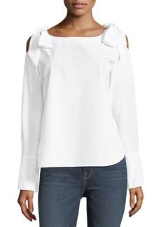 FRAME Round-Neck Bow-Shoulder Cotton Blouse