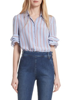 FRAME Ruffle Sleeve Silk Blouse (Nordstrom Exclusive)