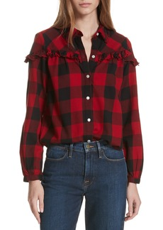FRAME Ruffle Trim Buffalo Check Shirt