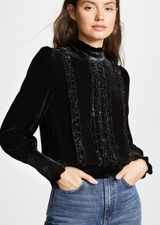 FRAME Ruffle Velvet Long Sleeve Top