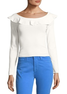 FRAME Ruffled Boat-Neck Long-Sleeve Tee