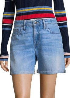 FRAME Embroidered Cuff Denim Shorts