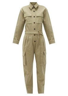 Frame Safari belted cotton-blend twill cargo jumpsuit