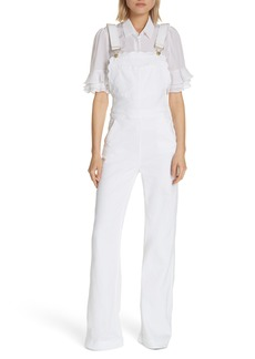 FRAME Scalloped Wide Leg Overalls