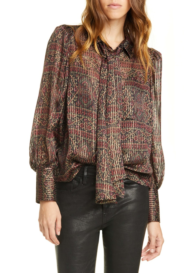 FRAME Scarf Neck Pleated Metallic Silk Blouse (Nordstrom Exclusive)