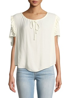 FRAME Scoop-Neck Ruffle Short-Sleeve Top