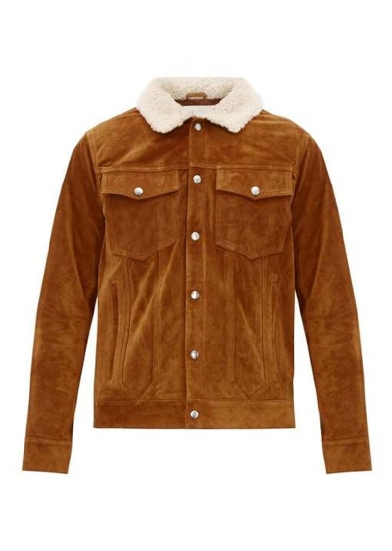 Frame Shearling-collar suede jacket