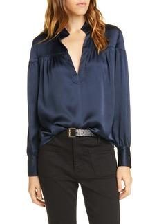 FRAME Shirred Hammered Silk Popover Shirt (Nordstrom Exclusive)