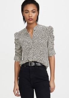 FRAME Shirred Sleeve Button Up Shirt
