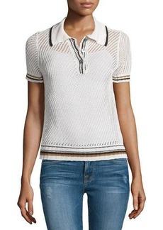 FRAME Short-Sleeve Mesh Polo Shirt