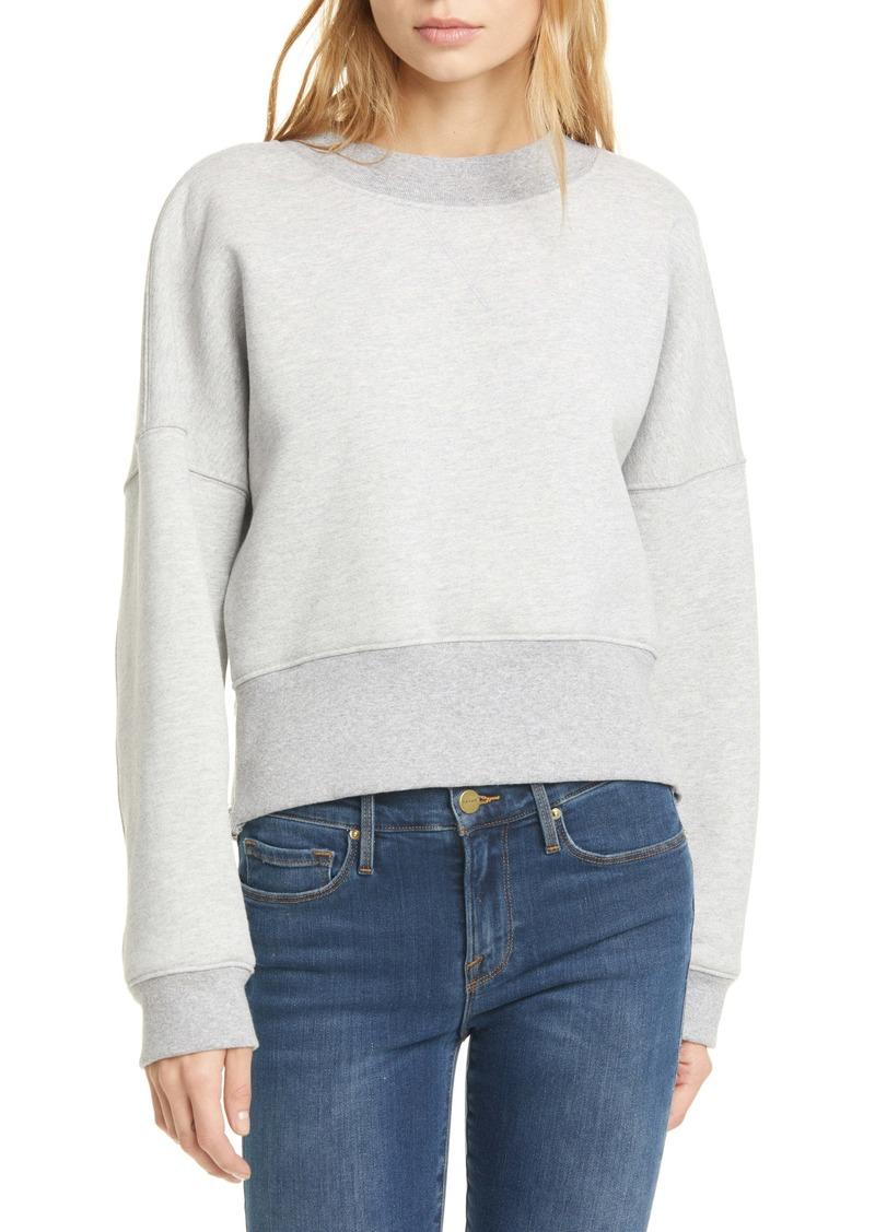 FRAME Side Zip Drop Shoulder Cotton Blend Sweatshirt