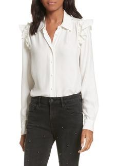 FRAME Silk Ruffle Sleeve Blouse