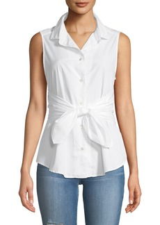FRAME Sleeveless Button-Front Belted Poplin Top