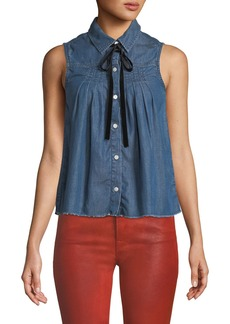 FRAME Sleeveless Button-Front Pintuck Tie-Neck Chambray Shirt