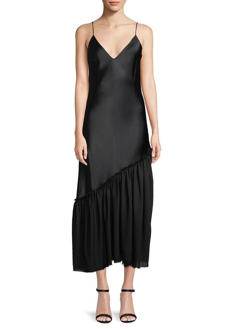 FRAME Sleeveless Satin Long Lounge Dress