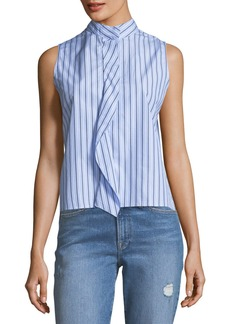 FRAME Sleeveless Stand-Collar Cravat Poplin Top