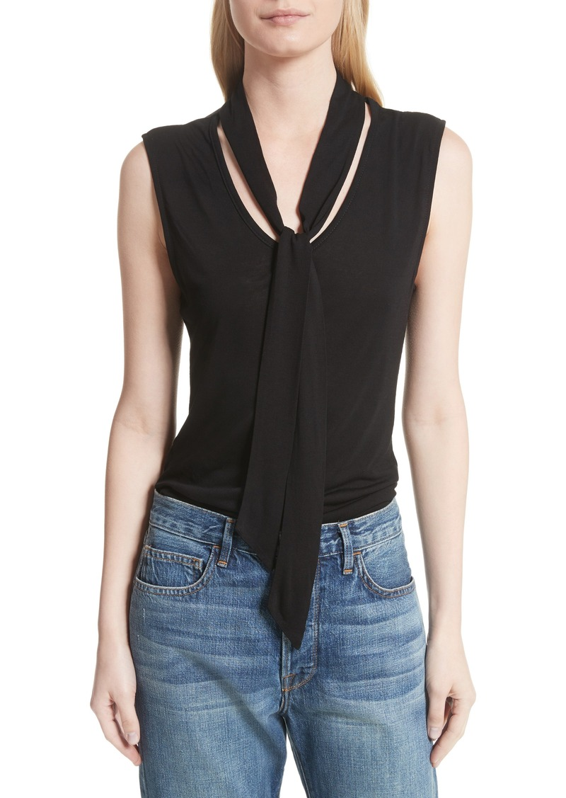 Frame Frame Sleeveless Tie Neck Blouse Casual Shirts