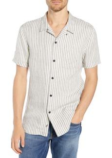 FRAME Slim Fit Stripe Linen Camp Shirt