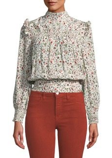 FRAME Smocked High-Neck Floral Silk Blouson Top