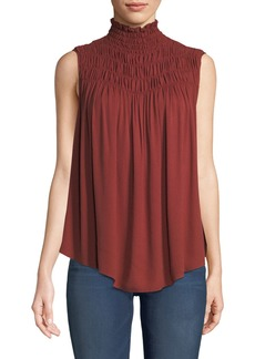FRAME Smocked High-Neck Sleeveless Top