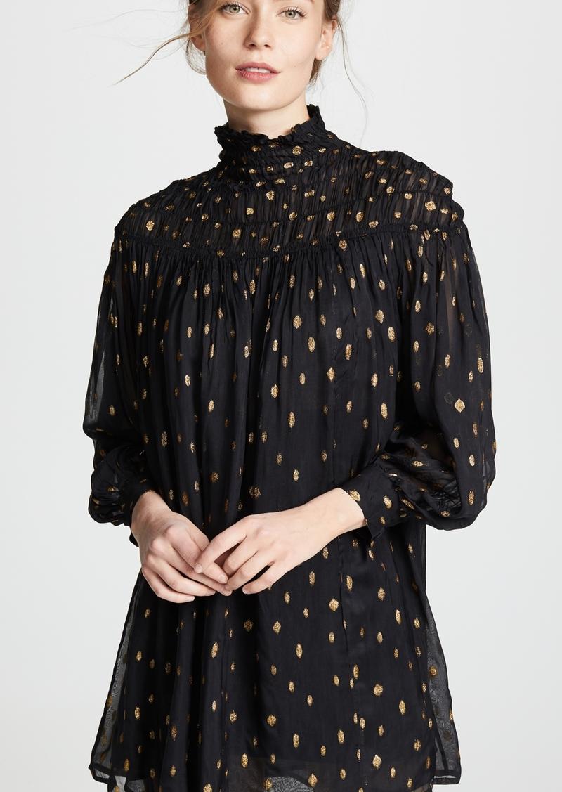 FRAME Smocked Long Sleeve Dress