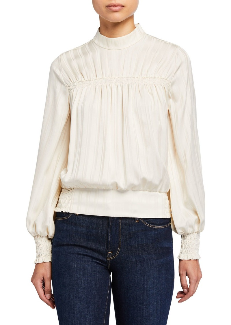 FRAME Smocked Long-Sleeve Jacquard Top