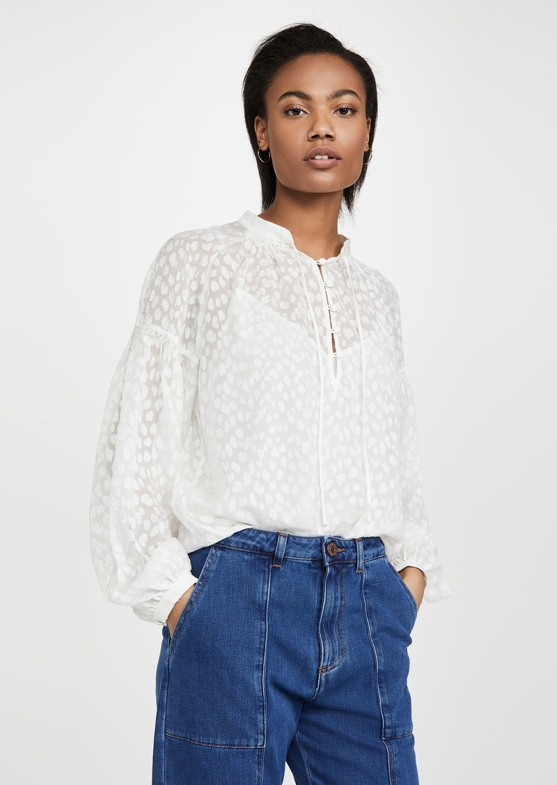 FRAME Smocked Peasant Top