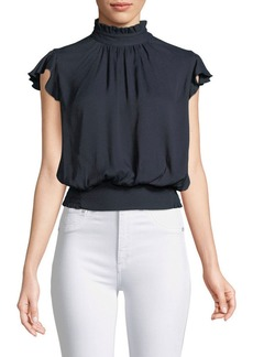 FRAME Smocked Ruffle Sleeveless Blouse