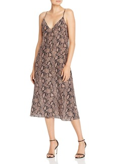 FRAME Snake Print Silk Slip Dress