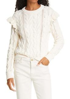 FRAME Sofia Ruffle Cable Knit Sweater