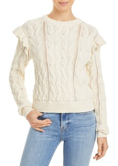 FRAME Sofia Ruffled Cable Knit Sweater