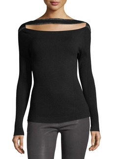 FRAME Split-Front Long-Sleeve Fitted Sweater
