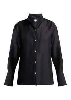 Frame Stand-collar linen-blend shirt