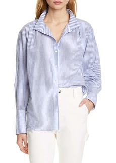 FRAME Stripe Clean Collar Pleated Shirt