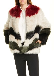FRAME Stripe Faux Fur Jacket