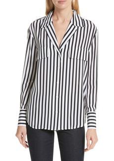 FRAME Stripe Flap Pocket Silk Blouse