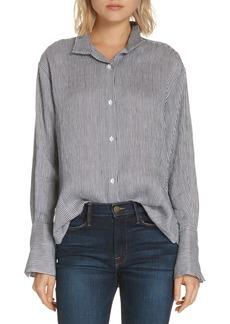 FRAME Stripe Linen Blend Shirt