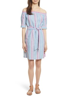 FRAME Stripe Off the Shoulder Linen Dress