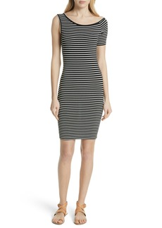 FRAME Stripe One-Sleeve Body-Con Dress