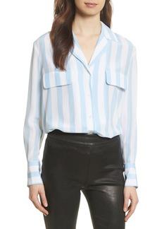 FRAME Stripe Pocket Silk Blouse