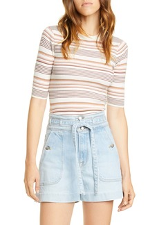 FRAME Stripe Ribbed Cotton & Wool Sweater