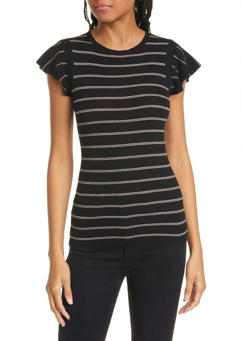 FRAME Stripe Ribbed Merino Wool Sweater